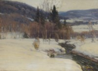 River running through a snowy mountainscape