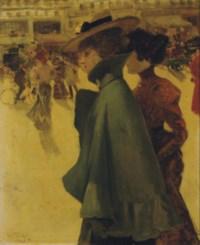 Two ladies strolling through a Parisian square