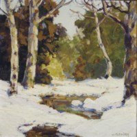 Snowy river bank in the woods; and a companion painting