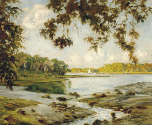 Verdant river landscape