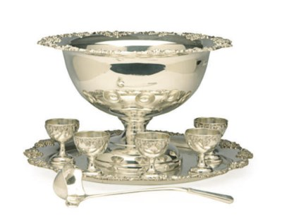 AN ENGLISH SILVER-PLATED PUNCH