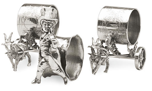 A GROUP OF THREE AMERICAN SILVER-PLATED NAPKIN RINGS AND VICTORIAN SILVER-PLATED SERVING PIECES**,