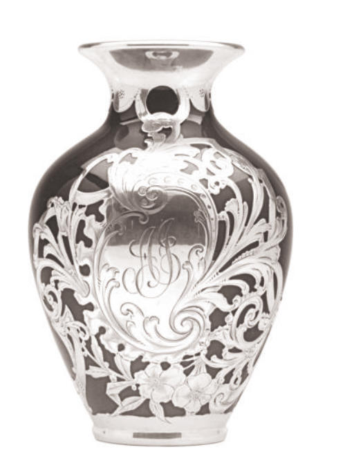 AN AMERICAN POTTERY VASE WITH SILVER OVERLAY,
