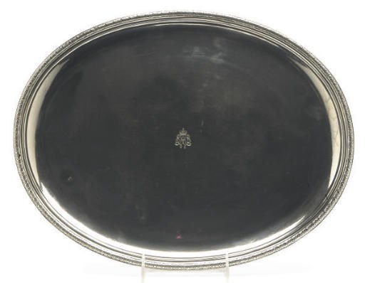 A FRENCH SILVER OVAL TRAY,