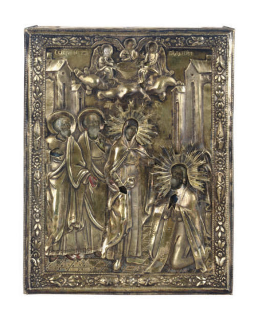A RUSSIAN SILVER ICON OF THE V
