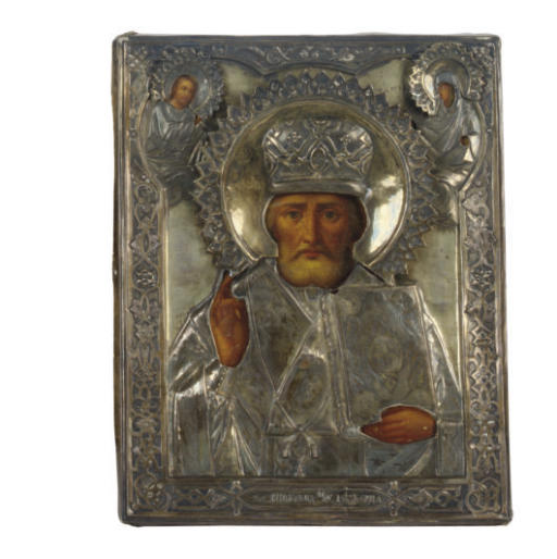 A RUSSIAN SILVER-MOUNTED ICON