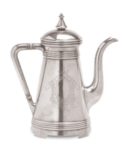 A RUSSIAN SILVER TEAPOT AND CO