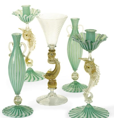 A PAIR OF VENETIAN GLASS DOLPH