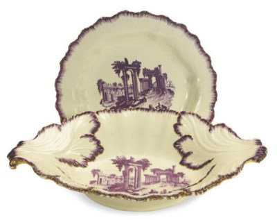 AN ENGLISH CREAMWARE LEAF-MOLD