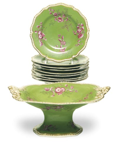 AN ENGLISH PORCELAIN LIME GREE