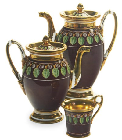 A FRENCH PORCELAIN GOLD AND BR