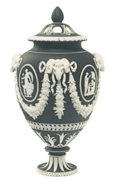 AN ENGLISH BLACK JASPERDIP POT