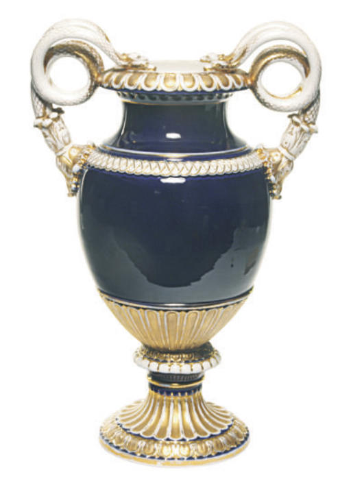 A GERMAN PORCELAIN COBALT BLUE