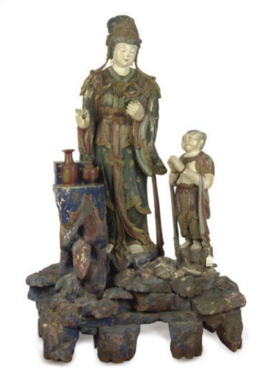 A CHINESE POLYCHROME PAINTED W