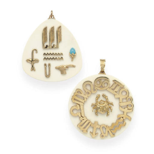**A GROUP OF IVORY, TURQUOISE