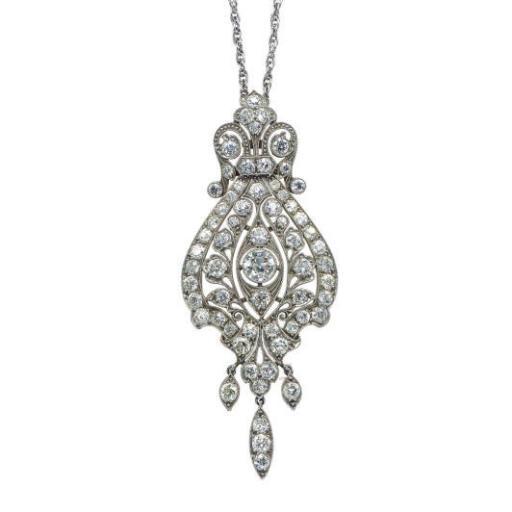 A DIAMOND AND PLATINUM PENDANT