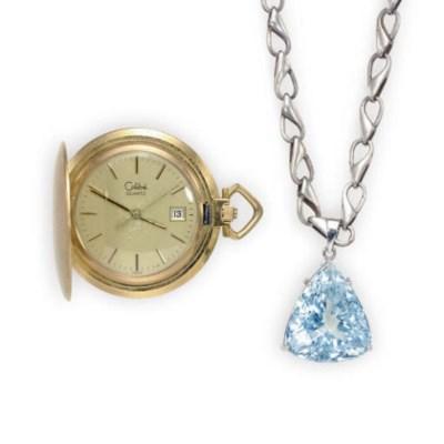 A BLUE TOPAZ, 18K WHITE GOLD A