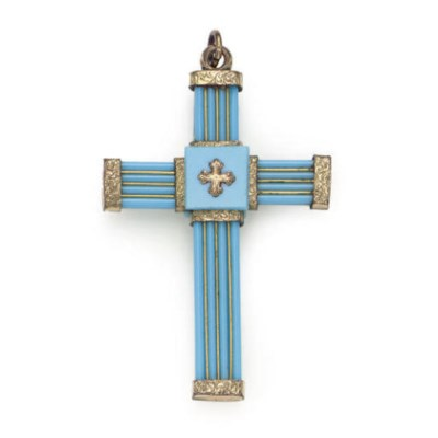 AN ANTIQUE GLASS CROSS PENDANT
