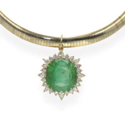 AN EMERALD, DIAMOND AND GOLD P