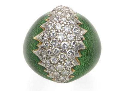 A DIAMOND, ENAMEL, 18K GOLD AN
