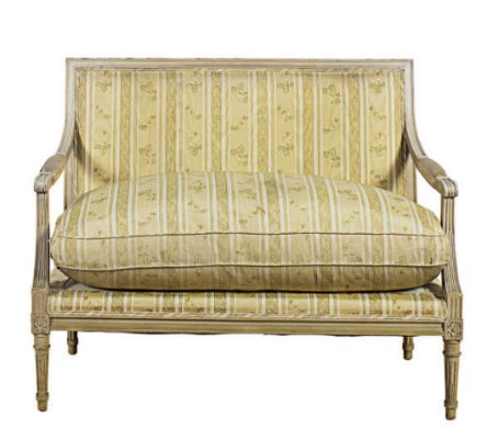 A FRENCH GREY-PAINTED SETTEE,