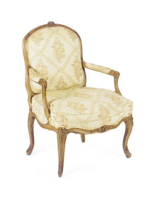 A FRENCH BEECHWOOD FAUTEUIL,