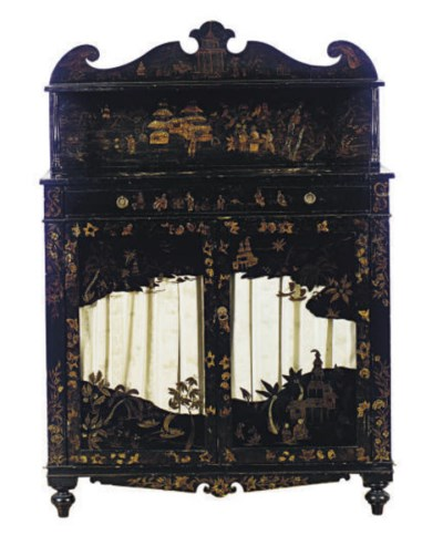 A BLACK AND GILT LACQUER CHIFF