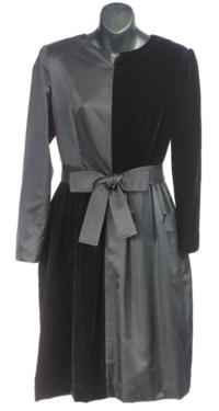 A BILL BLASS BLACK SATIN AND VELVET COCKTAIL DRESS,