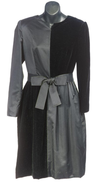 A BILL BLASS BLACK SATIN AND V