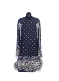 A BILL BLASS NAVY CHIFFON AND WHITE BEADED COCKTAIL DRESS,