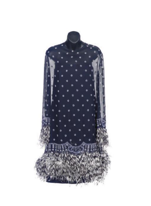 A BILL BLASS NAVY CHIFFON AND WHITE BEADED COCKTAIL DRESS,