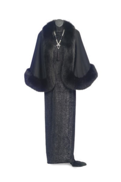 A BILL BLASS BLACK CHIFFON EVE