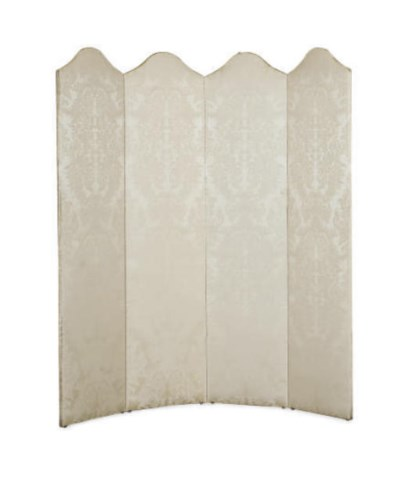 A FOUR-PANEL DAMASK UPHOLSTERE