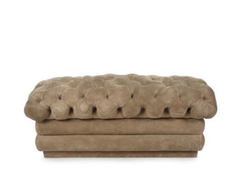 A BUTTON-TUFFTED SUEDE BENCH,