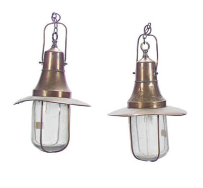A PAIR OF COPPER HANGING SHIP'