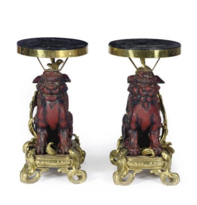 A PAIR OF GILT-BRONZE AND HARD