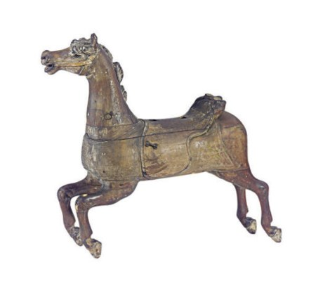 A CARVED WOOD CAROUSEL HORSE,