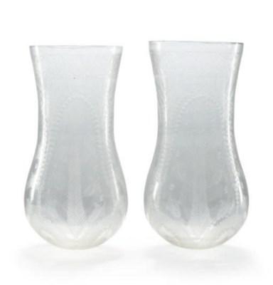 A PAIR OF CUT GLASS HURRICANE