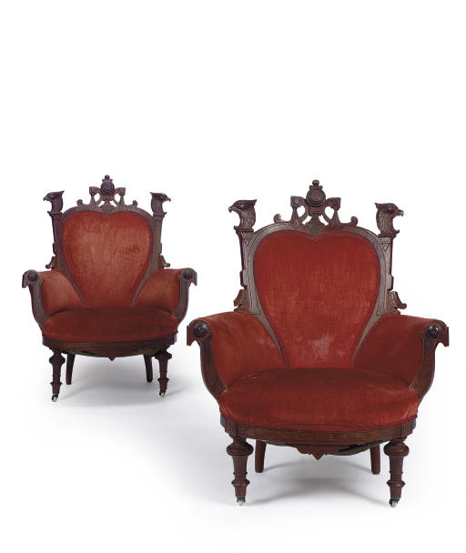 A PAIR OF LATE VICTORIAN WALNU