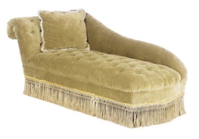 A BUTTON-TUFTED UPHOLSTERED RE