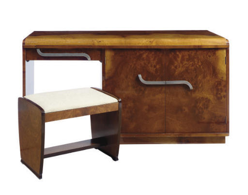 AN ART DECO BIRCH VANITY DESK