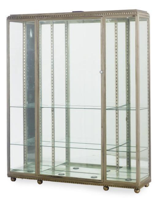 AN ART DECO ALUMINUM AND GLASS