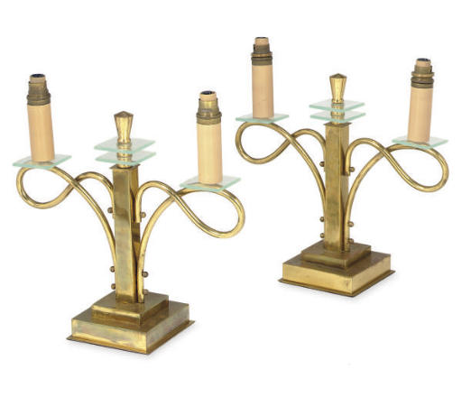 A PAIR OF BRASS AND GLASS CAND