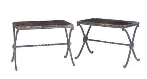 A PAIR OF ART DECO IRON AND MA
