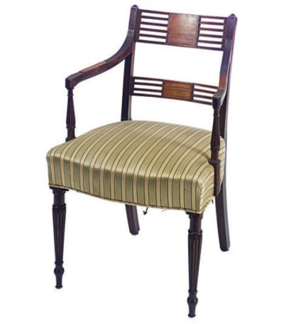 A MAHOGANY AND MAPLE ARMCHAIR,