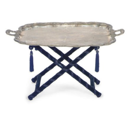 A SILVER-PLATED TRAY ON STAND,