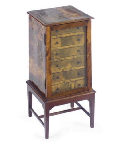 A BURR ELM COLLECTOR'S CABINET