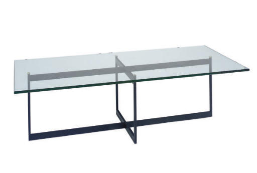 A GLASS AND METAL LOW TABLE,
