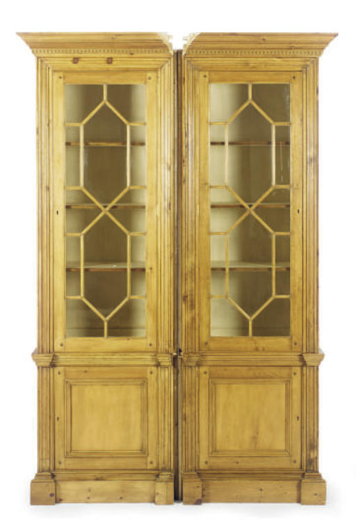 TWO PINE BOOKCASE CABINETS,