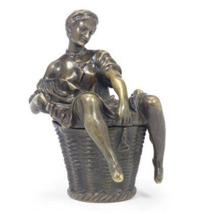 A CONTINENTAL PATINATED BRONZE